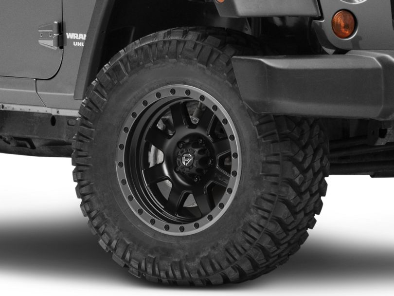 Fuel Wheels Trophy Matte Black with Anthracite Ring Wheel; 17x8.5 (07-18 Jeep Wrangler JK)