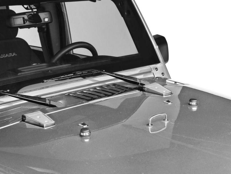 Rugged Ridge Hood Dress Up Kit - Stainless Steel (13-18 Jeep Wrangler JK)