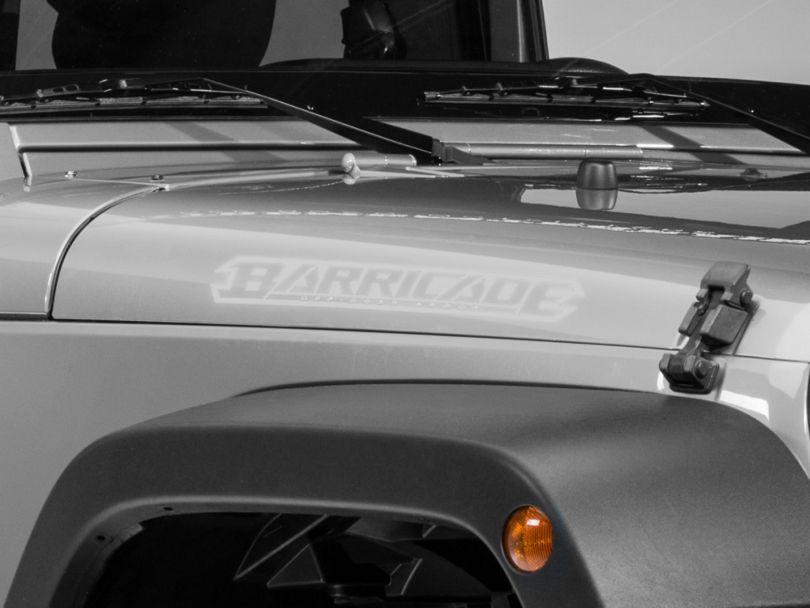 Barricade Hood Decal; Silver (87-20 Jeep Wrangler YJ, TJ, JK & JL)