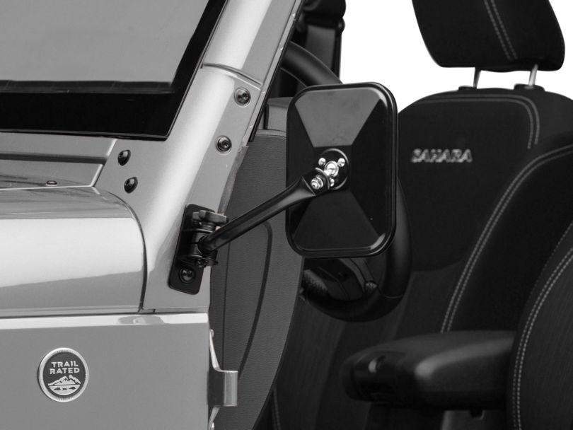 Rugged Ridge Quick Release Rectangular Mirror - Black (97-18 Jeep Wrangler TJ & JK)
