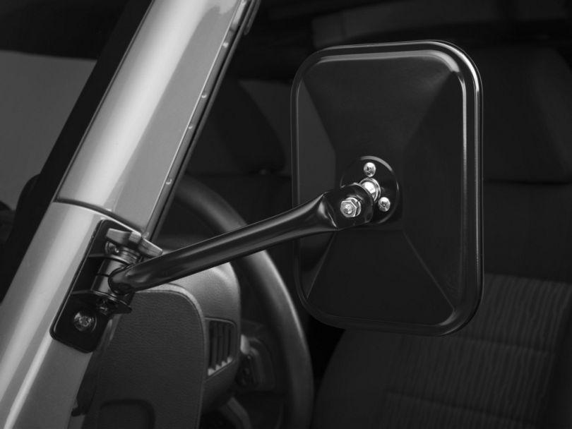 Rugged Ridge Quick Release Rectangular Mirrors - Black (07-18 Jeep Wrangler JK)