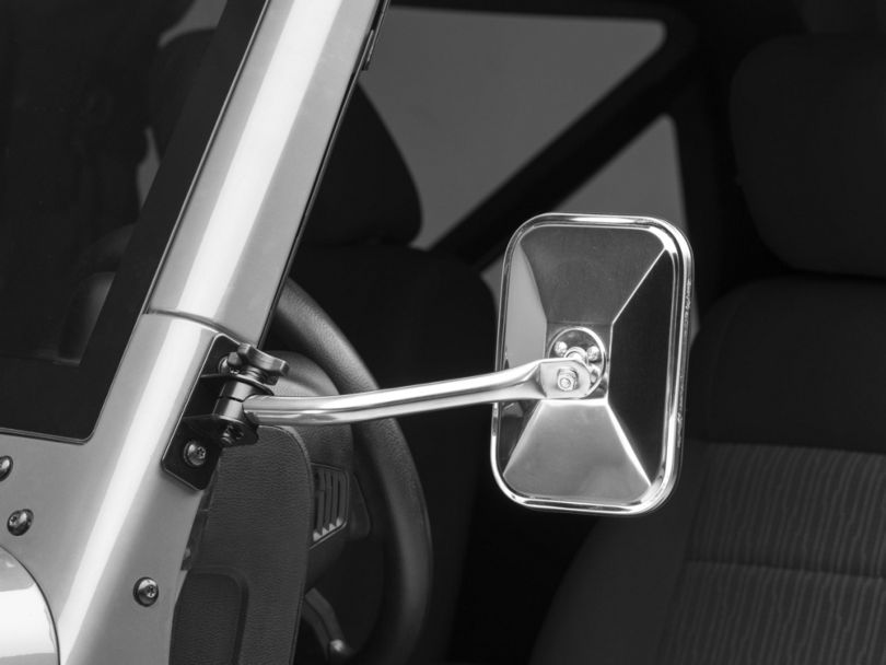 Rugged Ridge Quick Release Rectangular Mirrors - Stainless Steel (97-18 Jeep Wrangler TJ & JK)