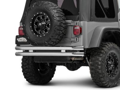 Add Barricade Double Tubular Rear Bumper - Polished (87-06 Wrangler YJ & TJ)