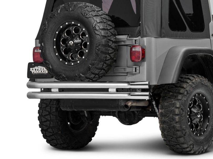 Barricade Double Tubular Rear Bumper; Polished (87-06 Jeep Wrangler YJ & TJ)