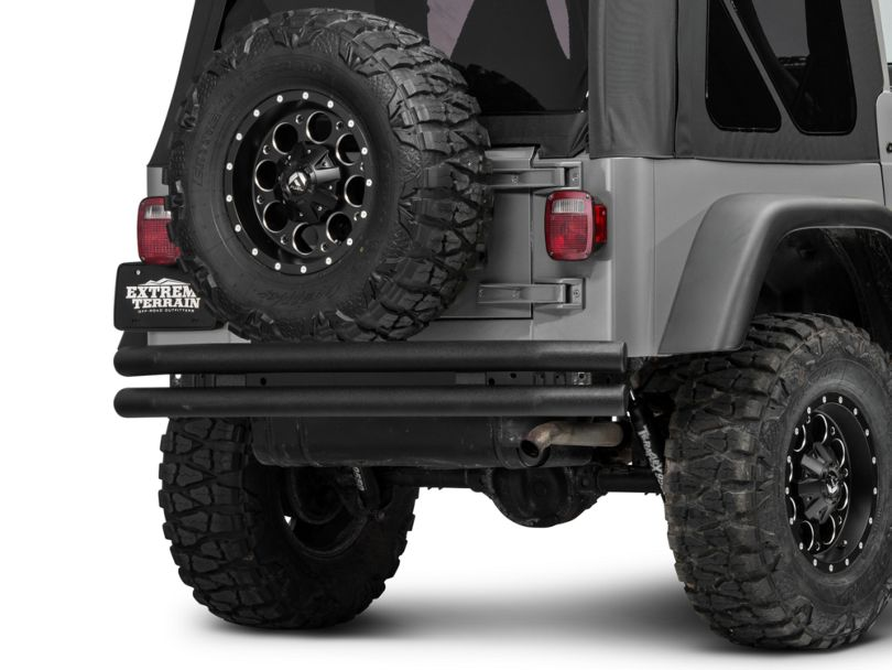Barricade Double Tubular Rear Bumper - Textured Black (87-06 Jeep Wrangler YJ & TJ)