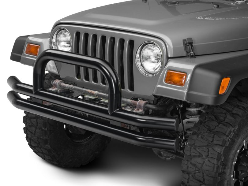 Barricade Double Tubular Front Bumper w/ Classic Hoop Over-Rider - Gloss Black (87-06 Jeep Wrangler YJ & TJ)