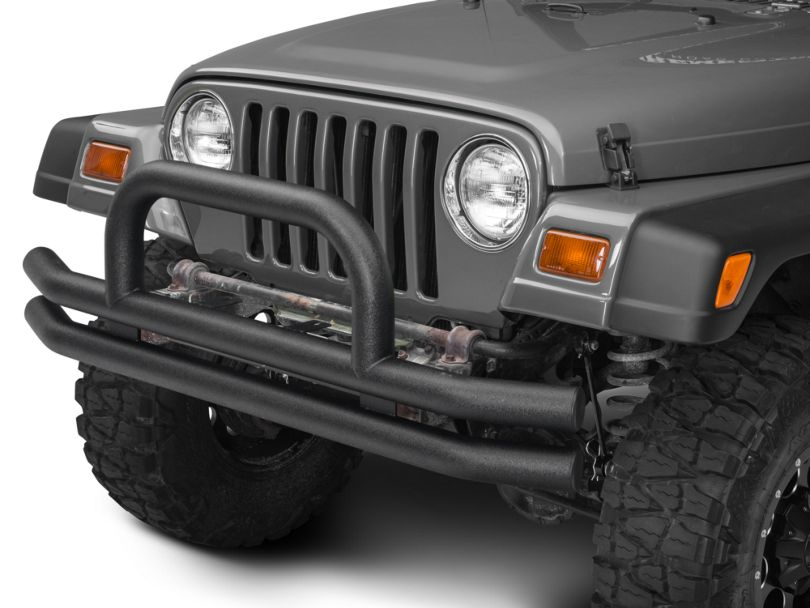 Barricade Double Tubular Front Bumper with Classic Over-Rider Hoop; Textured Black (87-06 Jeep Wrangler YJ & TJ)