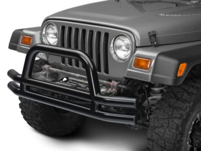 Barricade Double Tubular Front Bumper w/ Hoop Over-Rider - Gloss Black (87-06 Jeep Wrangler YJ & TJ)