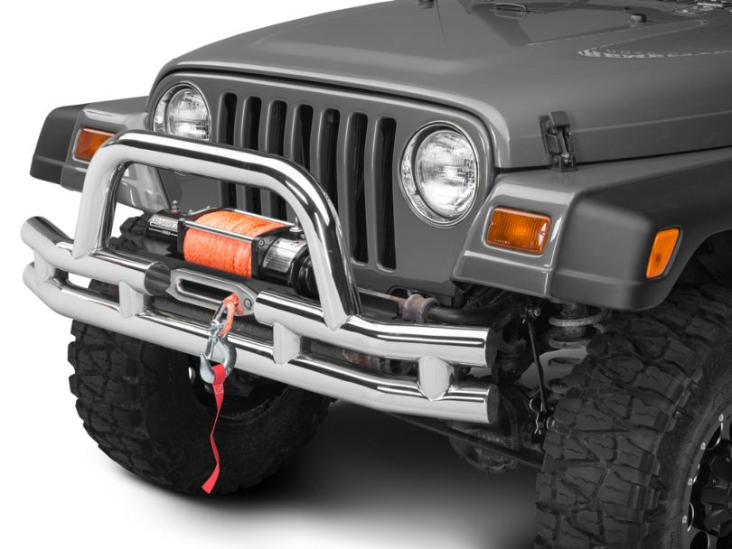 Barricade Double Tubular Front Bumper with Winch Cutout; Polished (87-06 Jeep Wrangler YJ & TJ)