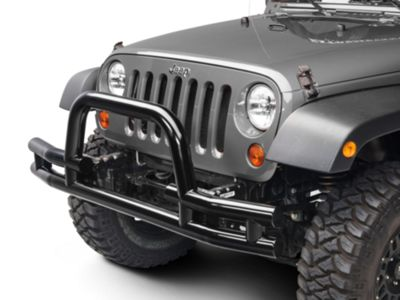 Add Barricade Front Tubular Bumper w/ Winch Cutout - Gloss Black (07-17 Wrangler JK)