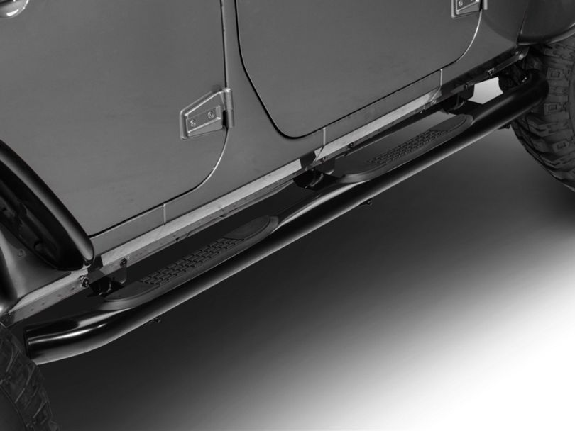 RedRock 4x4 3-Inch Round Curved Side Step Bars; Semi-Gloss Black (07-18 Jeep Wrangler JK 4 Door)