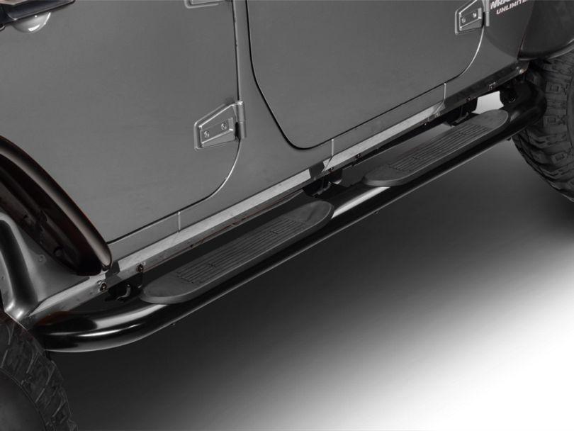 RedRock 4x4 4 in. Oval Curved Side Step Bars - Gloss Black (07-18 Jeep Wrangler JK 4 Door)