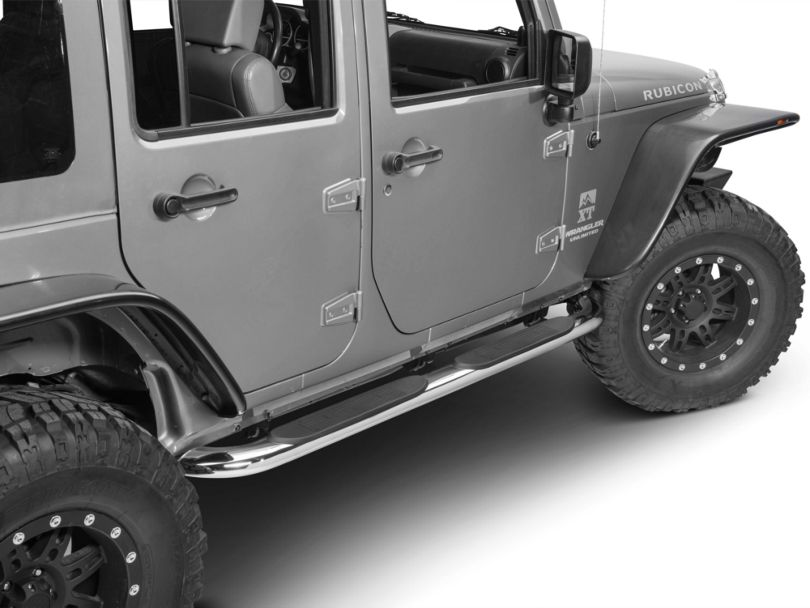 RedRock 4x4 4 Inch Oval Curved Side Step Bars; Stainless Steel (07-18 Jeep Wrangler JK 4 Door)