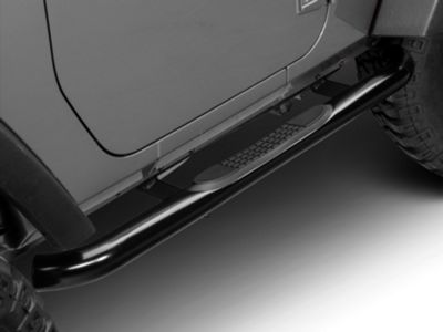 RedRock 4x4 3 in. Curved Round Side Step Bars - Gloss Black (07-18 Jeep Wrangler JK 2 Door)