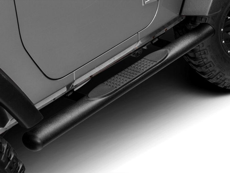 RedRock 4x4 4 in. Oval Straight Side Step Bars - Textured Black (07-18 Jeep Wrangler JK 2 Door)