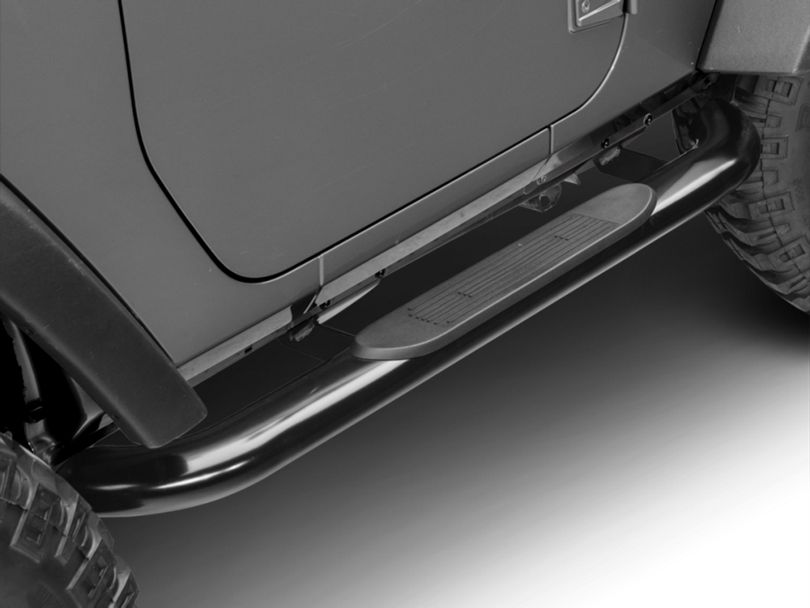 RedRock 4x4 4 in. Oval Curved Side Step Bars - Gloss Black (07-18 Jeep Wrangler JK 2 Door)