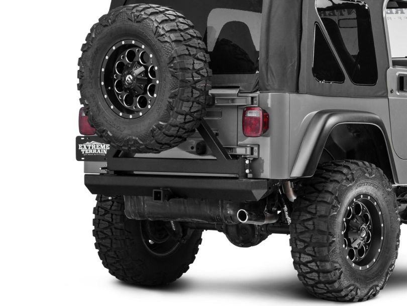RedRock 4x4 Rock Crawler Rear Bumper with Tire Carrier; Textured Black (87-06 Jeep Wrangler YJ & TJ)