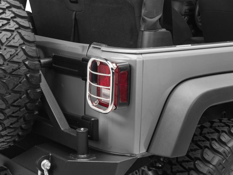 RedRock 4x4 Tail Light Guard - Stainless Steel (07-18 Jeep Wrangler JK)
