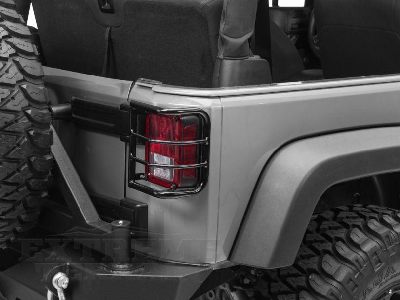 RedRock 4x4 Wrap Around Tail Light Guard - Gloss Black (07-18 Jeep Wrangler JK)