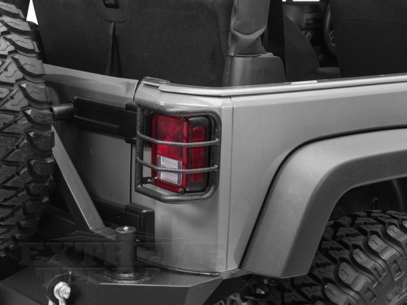 RedRock 4x4 Wrap Around Tail Light Guard - Textured Black (07-18 Jeep Wrangler JK)