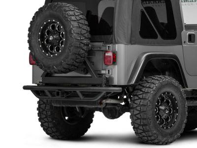 Add RedRock 4x4 Tubular Rock Crawler Rear Bumper w/ Tire Carrier - Textured Black (Only Fits Wrangler TJ)