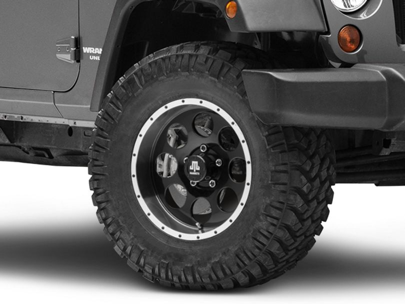 Mammoth 8 Beadlock Style Black Wheel; 17x9 (07-18 Jeep Wrangler JK)