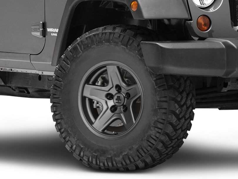 Mammoth Boulder Charcoal Wheel; 16x8 (07-18 Jeep Wrangler JK)