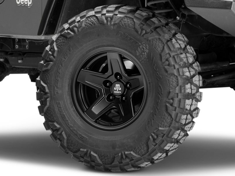 Mammoth Boulder Matte Black Wheel; 15x8 (97-06 Jeep Wrangler TJ)