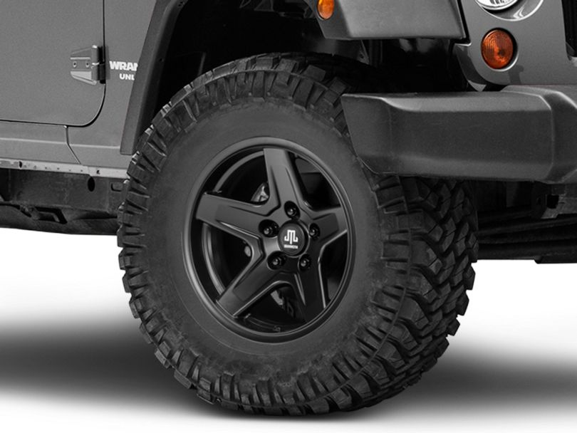 Mammoth Boulder Matte Black Wheel; 17x9 (07-18 Jeep Wrangler JK)