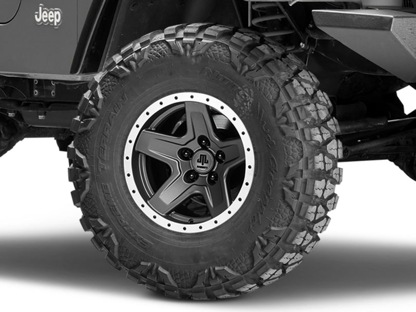 Mammoth Boulder Beadlock Style Charcoal Wheel; 15x8 (97-06 Jeep Wrangler TJ)