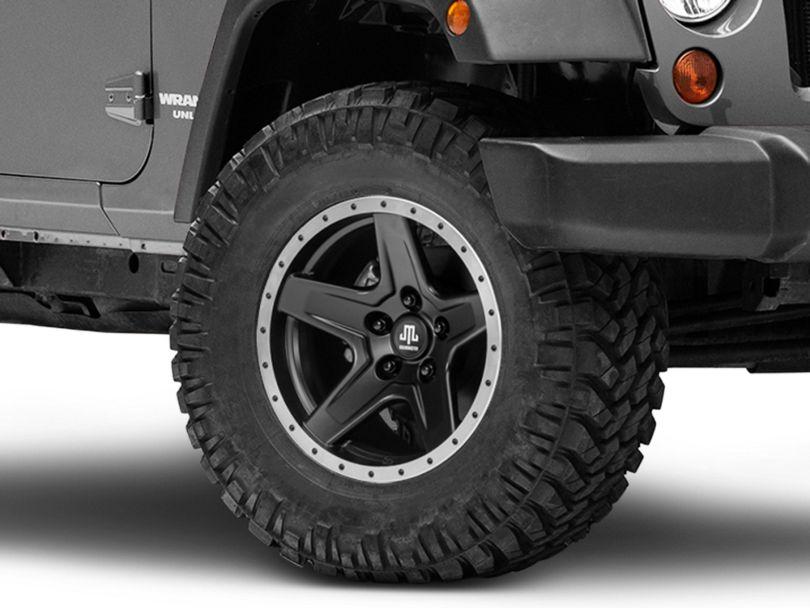 Mammoth Boulder Beadlock Style Black Wheel; 17x9 (07-18 Jeep Wrangler JK)