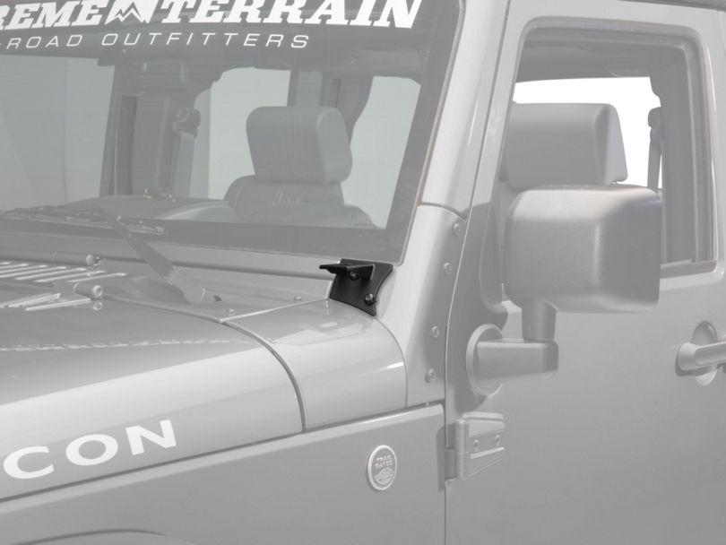 Barricade Windshield Mounted Light Brackets - Textured Black (07-18 Jeep Wrangler JK)