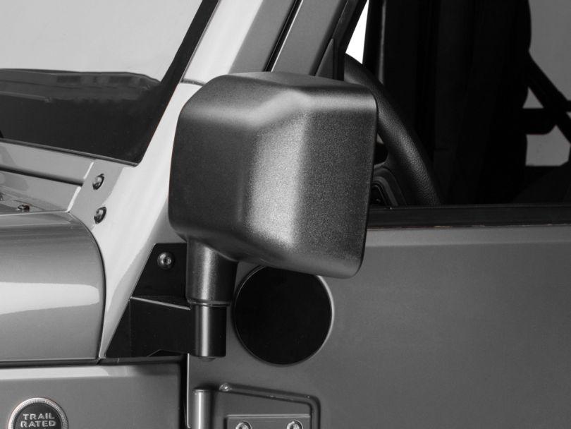 Barricade Side Mirror Relocation Kit; Black (07-18 Jeep Wrangler JK)