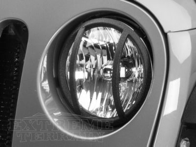 Add Barricade Headlight Guard - Textured Black (07-17 Wrangler JK)