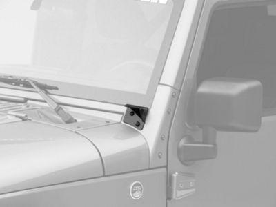 KC HiLiTES Windshield Hinge Mounting Brackets - Black (07-18 Jeep Wrangler JK)