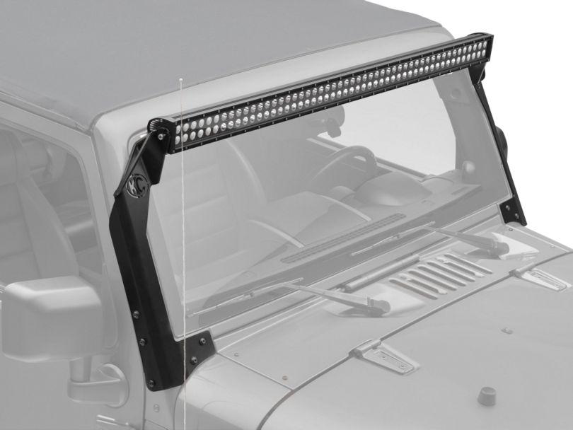 KC HiLiTES 50 in. C-Series C50 LED Light Bar w/ Overhead Mounting Brackets (07-18 Jeep Wrangler JK)