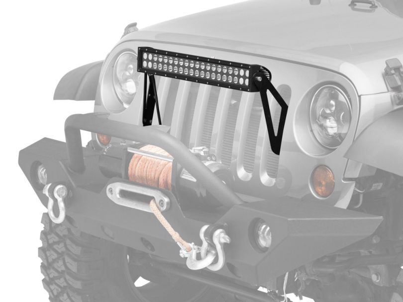 KC HiLiTES 20 in. C-Series C20 LED Light Bar w/ Grill Mounting Brackets (07-18 Jeep Wrangler JK)