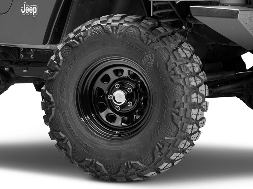 Mammoth D Window Black Steel Wheel; 15x8 (97-06 Jeep Wrangler TJ)