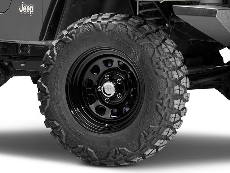 Mammoth D Window Black Steel Wheel; 15x10 (97-06 Jeep Wrangler TJ)