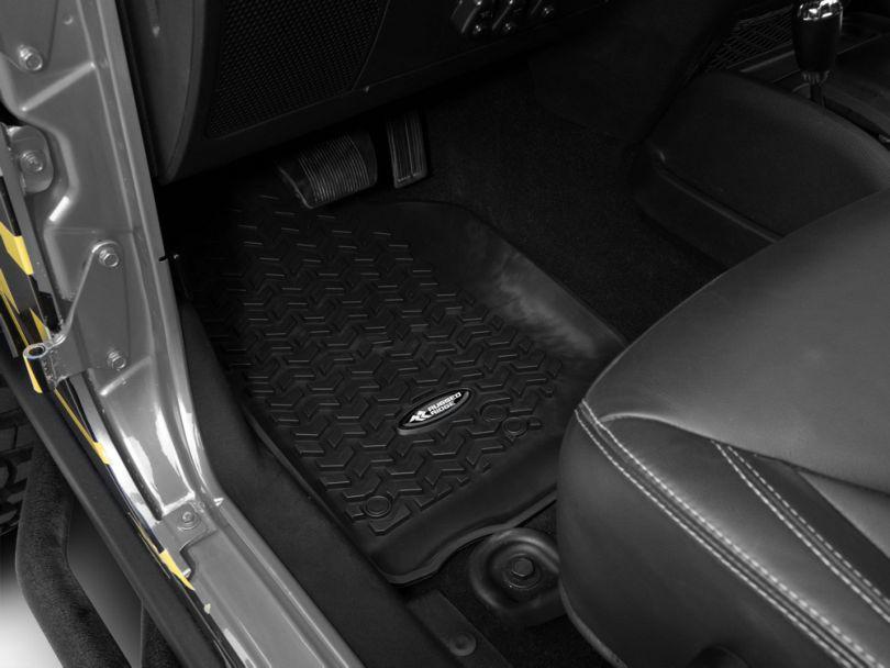 Rugged Ridge All-Terrain Front & 2nd Row Floor Mats - Black (14-18 Jeep Wrangler JK 4 Door)
