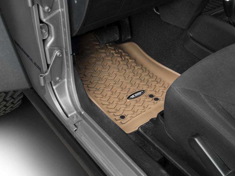 Rugged Ridge Floor Mat Kit - Tan - Front & 2nd Row (14-18 Jeep Wrangler JK 2 Door)