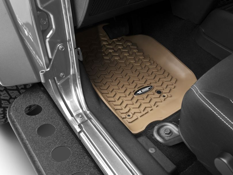 Rugged Ridge All-Terrain Front & 2nd Row Floor Mats - Tan (14-18 Jeep Wrangler JK 4 Door)