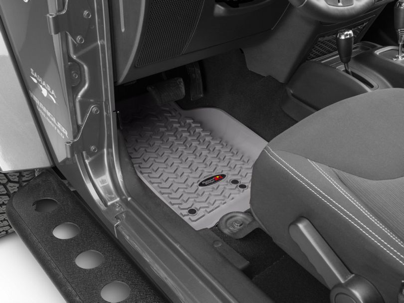 Rugged Ridge All-Terrain Front and Rear Floor Mats; Gray (07-18 Jeep Wrangler JK 4 Door)