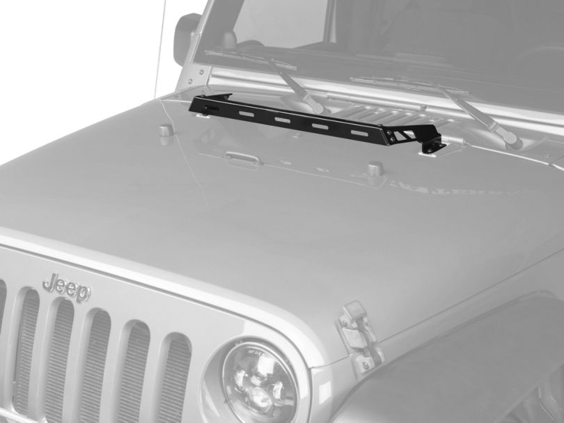 Rugged Ridge Hood Mounted Light Bar; Gloss Black (07-18 Jeep Wrangler JK)