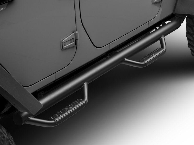 N-Fab Wheel 2 Wheel Nerf Side Step Bars - Textured Black (07-18 Jeep Wrangler JK 4 Door)