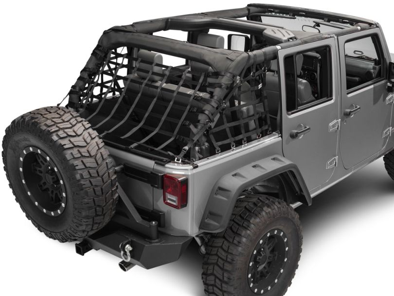 RedRock 4x4 Cargo Wrap Around Net; Three Piece (07-18 Jeep Wrangler JK 4 Door)