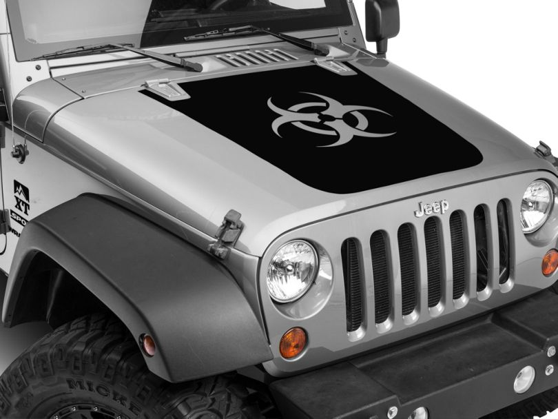 Bio Hazard Hood Decal - Black (07-18 Jeep Wrangler JK)