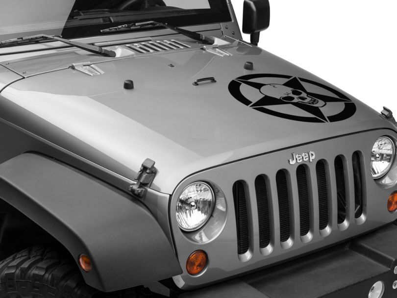 Skull Star Hood Decal - Black (87-20 Jeep Wrangler YJ, TJ, JK & JL)
