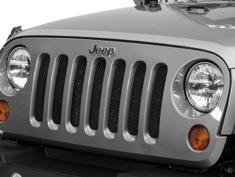 RedRock 4x4 Wire Mesh Grille - Black Stainless (07-18 Jeep Wrangler JK)