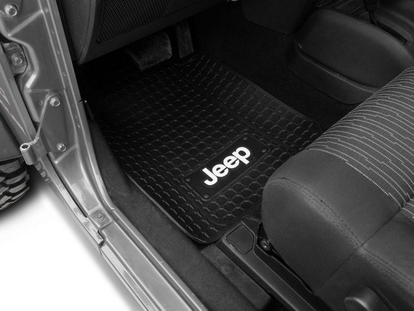 Alterum Jeep Logo Front Floor Mats - Black (87-20 Jeep Wrangler YJ, TJ, JK & JL)